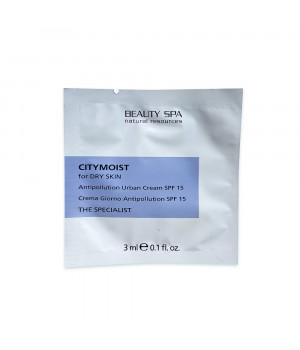 Гиалуроновый крем для лица защитный для стрессовой кожи Beauty Spa City Moist SPF 15 пробник